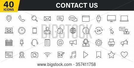 Set Of 40 Contact Us Web Icons In Line Style. Web And Mobile Icon. Chat, Support, Message, Phone. Ve