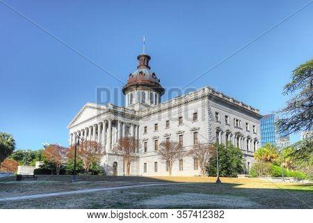 Columbia, South Carolina/united States- January 7: View Of South Carolina Statehouse In Columbia, So