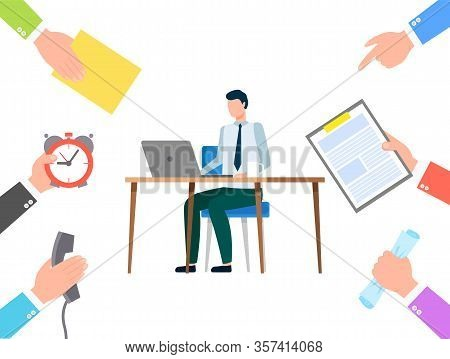 Man Sitting By Table And Typing On Laptop. Person Work As Secretary And Doing Tasks From People. Man
