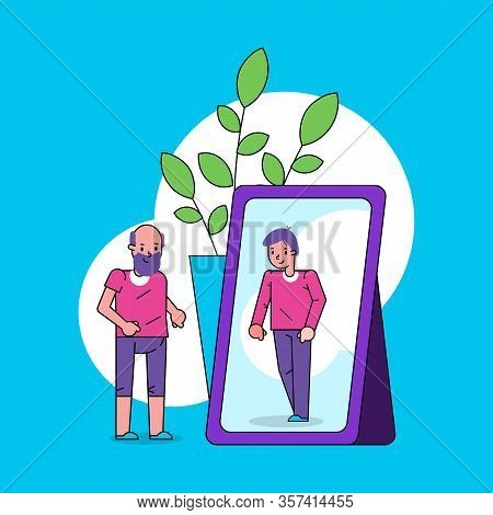 Psychology Of Self Perception Ego Concept With Old Man Looks Into Mirror And Sees Himself As Boy In