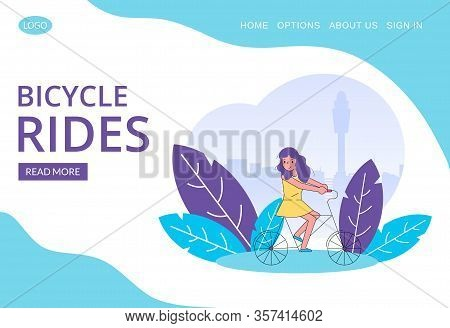 Happy Girl Riding Bicycle Line Art Vector Illustration For Web Template. Bike Cycle Rent In Summer,