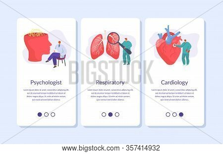 Medic Banners Set For Mobile App Of Medicine Online Doctors, Medical Consultation Of Psychologist, C