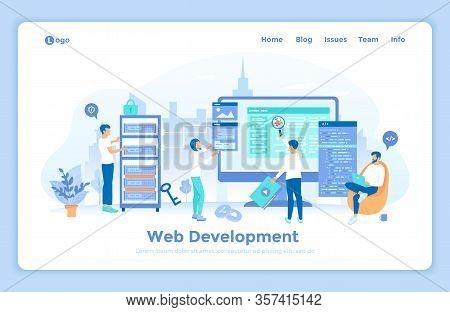 Web Development Programming Coding. Programmers Team Are Working On A New Website. Monitor, Program