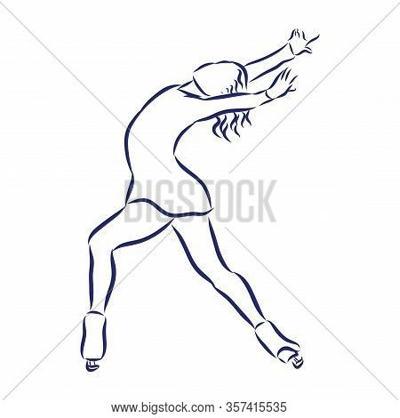Woman Figure Skater Sketch. Black And White Draw , White Background