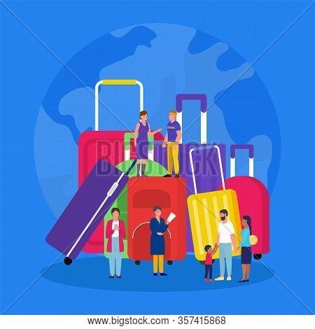 Travel Luggage, Vacation Suitcases With Tourists Tiny People Travelers Flat Vector Illustration. Sui
