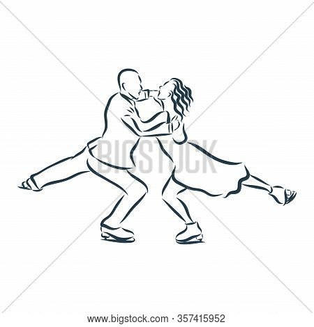 Winter Sport Figure Skating Young Couple Skaters Hand Drawn Sketch. Vector Illustration Of Paints