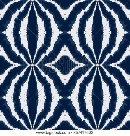 Cobalt Shibori Stripe Vector Seamless Pattern. Aztec Repeat Ikat Print. Rustic Japanese Ornament. Sk