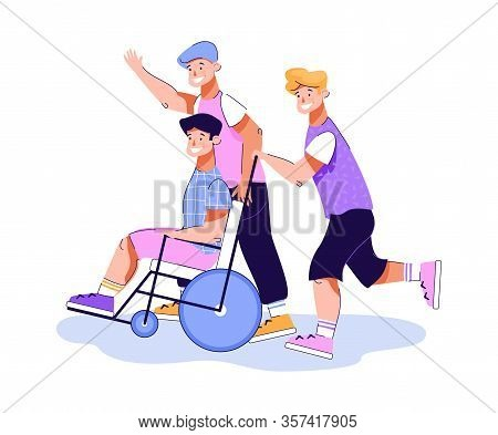 Friends Having Fun With Their Disabled Mate, Flat Vector Illustration Isolated.