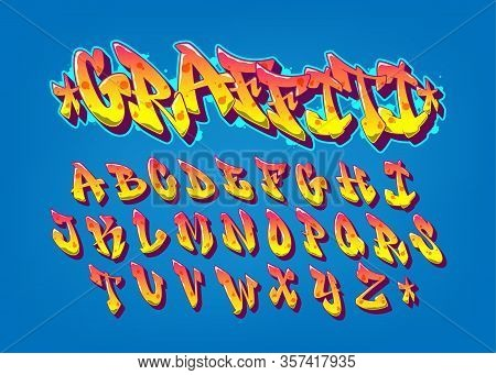 Handwritten Graffiti Font Alphabet. Old School Alphabet. Vector Illustration