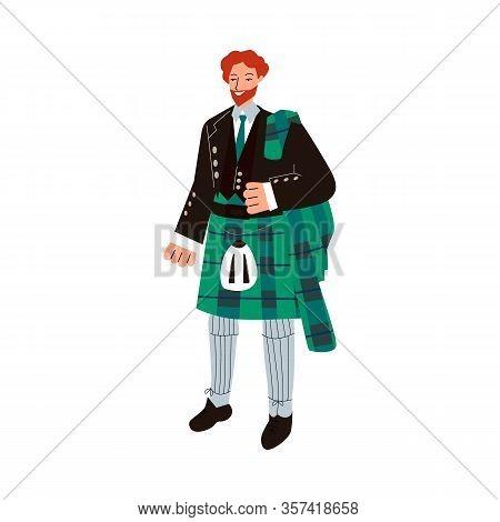 Ginger Man In Traditional Male Scottish Costume - Green Tartan Suit With Kilt Skirt.