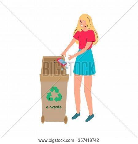 Cartoon Woman Throwing Broken Phone In E-waste Recycling Bin