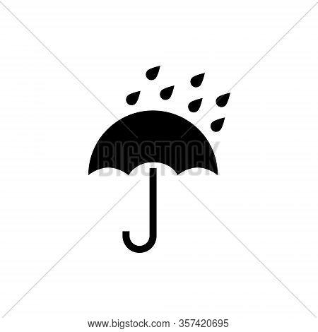 Umbrella Vector Icon. Rain Protection Umbrella Water Symbol. Rain Safety Sign Drop Icon Isolated