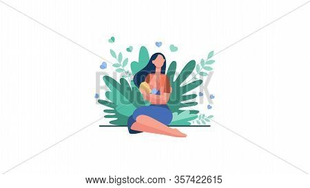 New Mother Feeding Baby With Breast. Young Woman Holding Little Child In Arms. Vector Illustration F