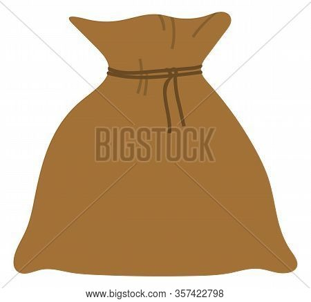Full Sack With Rope, Element Of Harvest Festival In Europe. Brown Flax Bag With Product, Agricultura