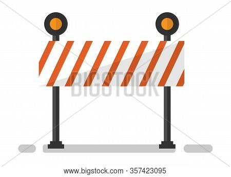 Construction Barrier Equipment, Striped Fencing Sign On White. Warning Of Reconstruction, Barricade