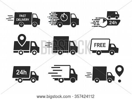 Set Of Delivery Icons, Fast Delivery, Free Delivery, 24 Hours Truck