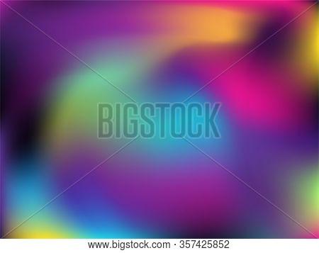 Hologram Effect Glitch Gradient Vector Design. Fairy Neon Party Graphics Background. Liquid Colors S