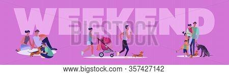 Weekend Activities Set. Families, Kids, Friends Walking, Jogging, Shopping, City Park View. Flat Vec