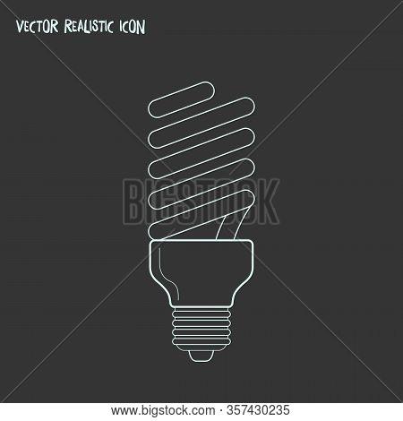Fluorescent Light Bulb Icon Line Element. Vector Illustration Of Fluorescent Light Bulb Icon Line Is