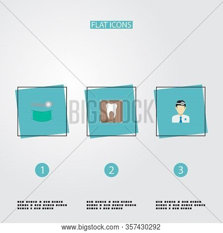 Set Of Tooth Icons Flat Style Symbols With Dentist, Orthodontist, Dental X-ray And Other Icons For Y