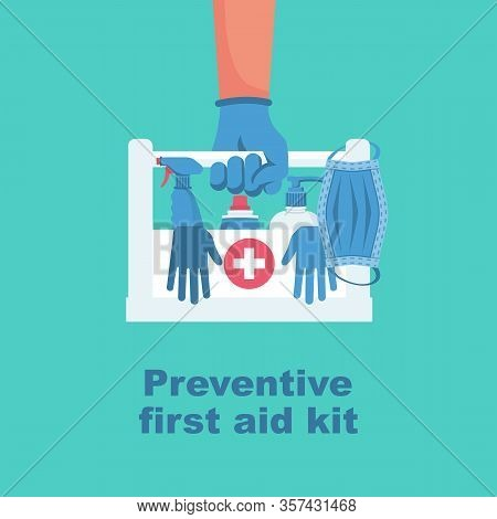 Preventive First Aid Kit. Disinfectant Antibacterial Equipment. Healthcare Concept. Vector Illustrat