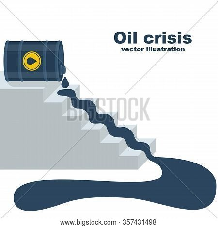 Oil Price Falling. Oil Flowing Down Stairs As Symbol Of Falling Income. World Crisis. Barrel Of Gaso