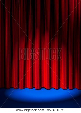 Illuminated By Spotlight Red Curtains And Blue Floor. Modern Showcase With Empty Space. 3d Rendering