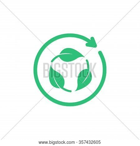 Green Biodegradation Icon, Biodegradable Recyclable. Vector Illustration