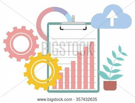 Paper Document Report With Infochart Vector, Isolated House Plant Decoration. Cogwheel Process Symbo