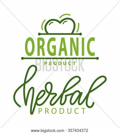 Organic Product Vector, Tomato And Herbal Ingredients, Uncooked Meal And Foliage Logo Set Isolated L