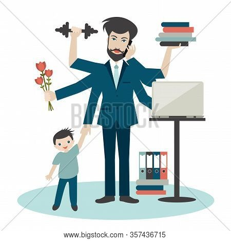 Busy Multitasking Man, Father, Dad, Daddy, Romantic Husband, Businessman, Worker. Young Man With Son