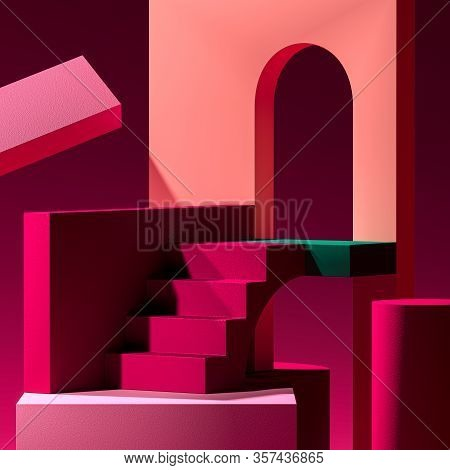Pink Showcase With Abstract Colorful Figures. Empty Space. Copy Space. Abstract Pattern. 3d Renderin