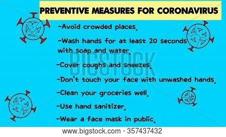 List Of Preventive Measures For Coronavirus. Background Has Micro Organisms, Germs On Blue. Covid-19