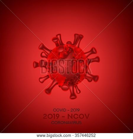 Coronavirus Cell Isolated On Red Background. Vector Illustration With 3d Microscopic Virus Covid 19-