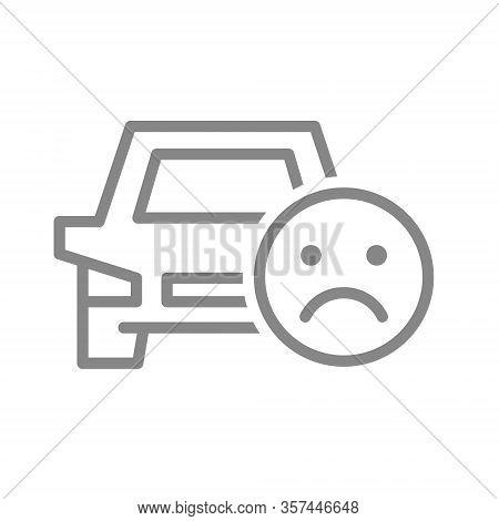 Car With Sad Face Line Icon. Worst Transportation Service, Negative Taxi Feedback Symbol