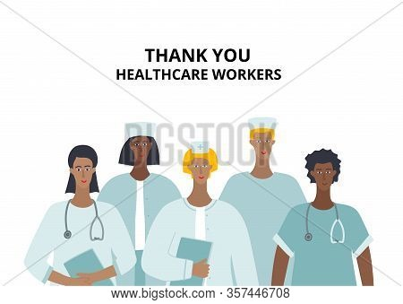 Thank You Healthcare Worker Medical Doctor Nurse Characters. Hospital Profession Concept Vector Illu