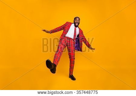 Full Size Photo Of Crazy Funky Dark Skin Macho Guy Dancing Youngster Moves Little Drunk Bachelor Men