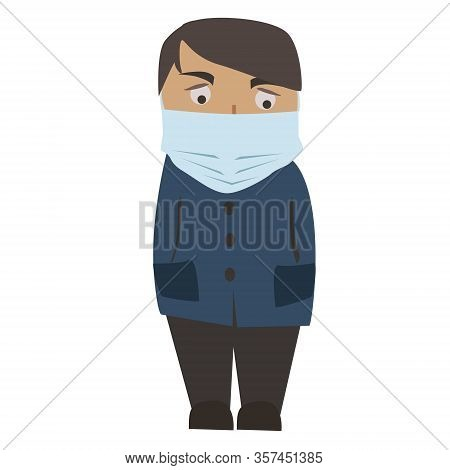 Man With Medical Mask On Face. Protection From 2019-ncov, Covid-19, Sars-cov-2, Coronavirus, Virus,