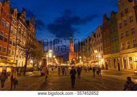 Gdansk, Poland, April 15, 2018: People Walk Along Dluga Long Market Pedestrian Street Dlugi Targ Squ