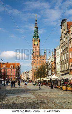 Gdansk, Poland, April 17, 2018: People Walk Down Dluga Long Market Street Dlugi Targ Square In Old H
