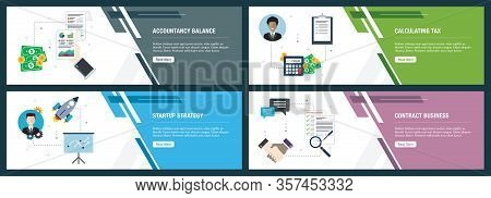 Web Banners Concept In Vector With Accountancy Balance, Calculating Tax, Startup Strategy And Contra