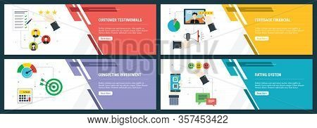Web Banners Concept In Vector With Customer Testimonials, Feedback Financial, Consulting Investment
