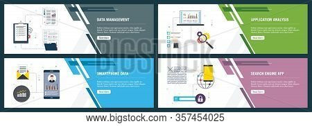 Web Banners Concept In Vector With Data Management, Application Analysis, Smartphone Data And Search