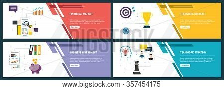 Web Banners Concept In Vector With Financial Market, Teamwork Success, Business Investment And Teamw