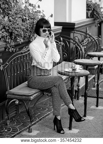 Relax And Coffee Break. Woman Attractive Elegant Brunette Spend Leisure Cafe Terrace Background. Hap