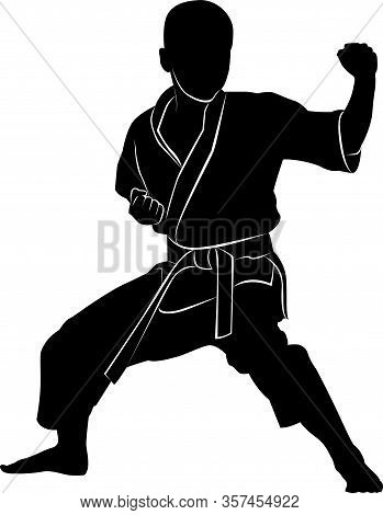 Silhouette Of A Boy In A Rack Martial Arts. Martial Arts Silhouette.karate