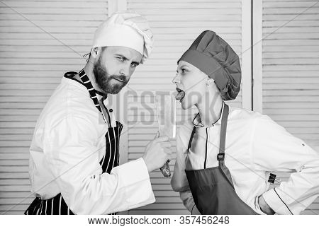 Cooking Is Sexy. Sharp Knife Professional Tool. Man Use Sharp Cleaver Knife. Couple Playful With Dan