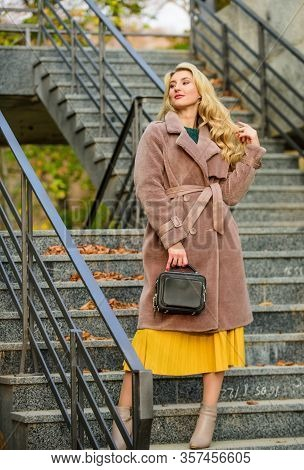 Create Fall Outfit To Feel Comfortable And Pretty. Autumn Outfit. Woman Wear Stylish Outfit And Carr