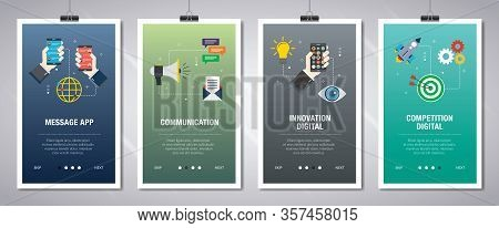 Vector Set Of Vertical Web Banners With Message App, Communication, Innovation Digital, Competition