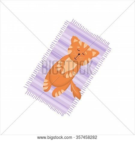 Cute Red Cat, Kitten Lying On Its Back In Two Positions, Cartoon Vector Illustration Isolated On Whi